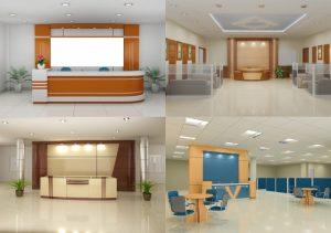 Thiết kế nội thất cho sảnh lễ tân của công ty